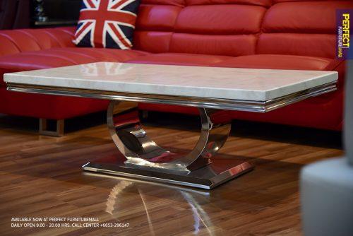 โต๊ะกลางTopหินอ่อนขาอลูมิเนียม